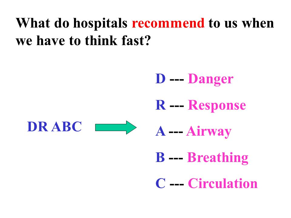 What do hospitals recommend to us when we have to think fast