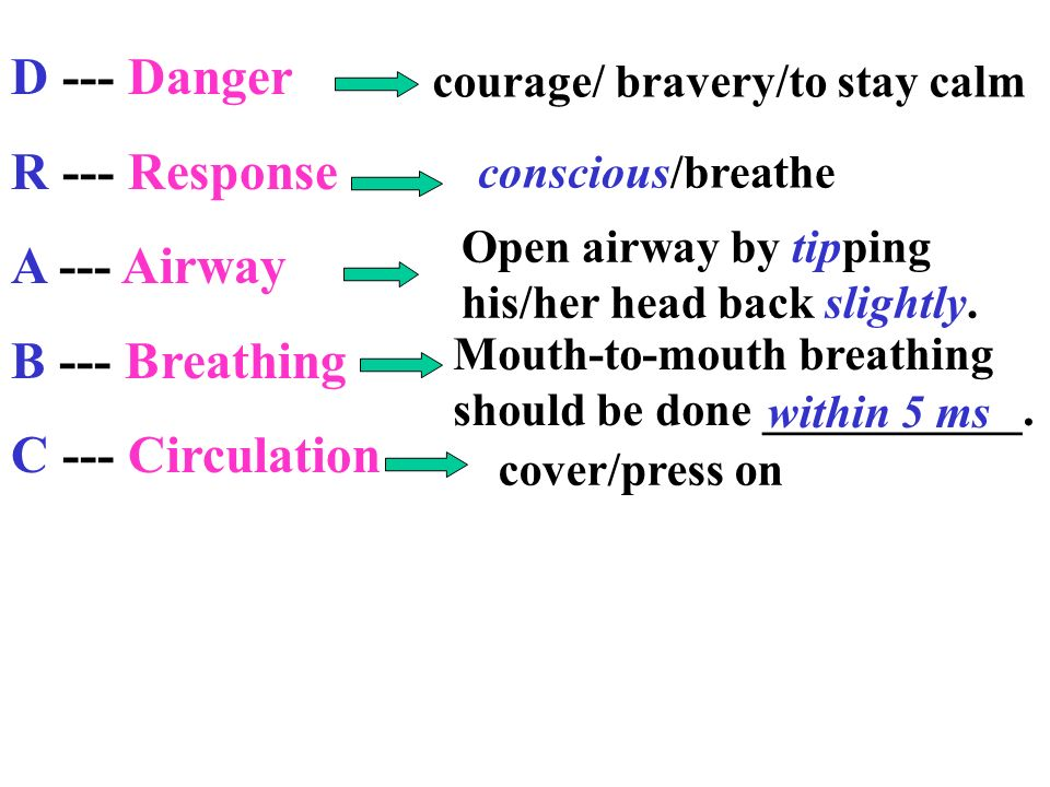D --- Danger R --- Response A --- Airway B --- Breathing