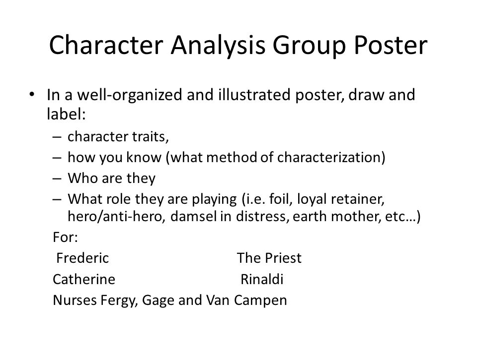 Character Analysis Group Poster