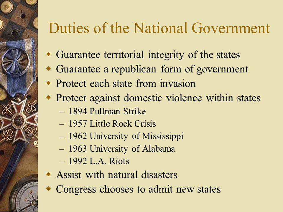 Duties of the National Government