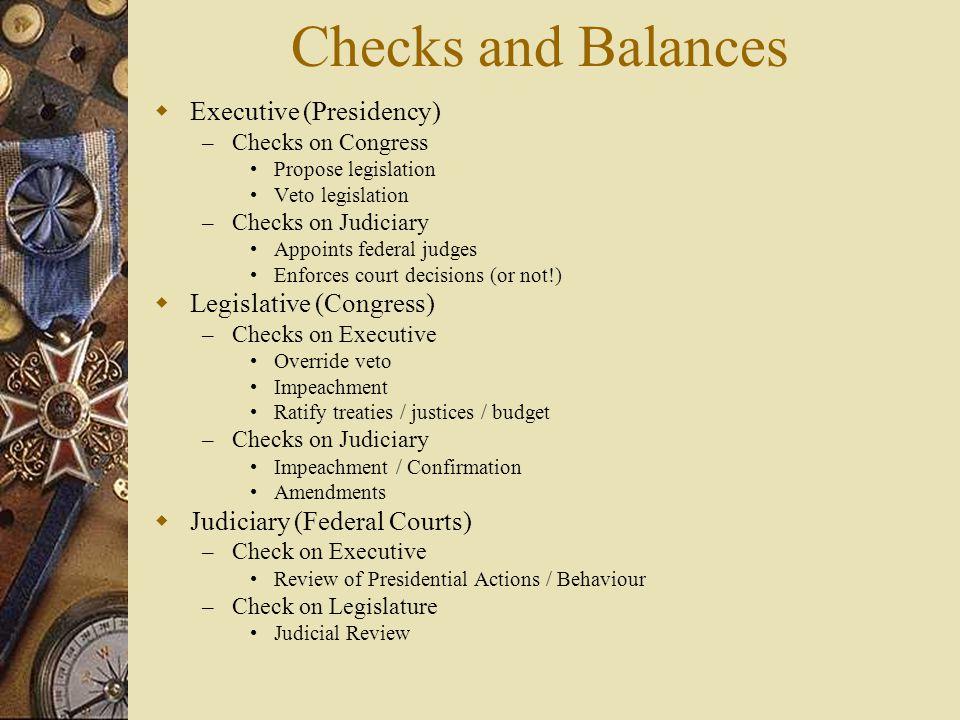 Checks and Balances Executive (Presidency) Legislative (Congress)
