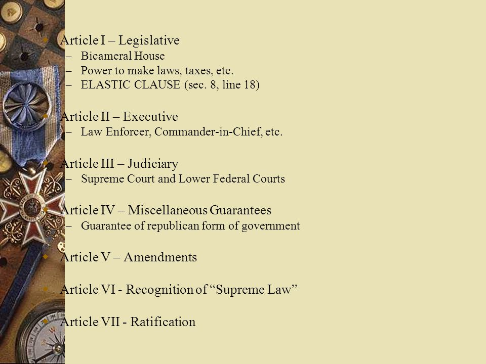 Article I – Legislative
