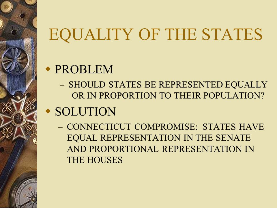 EQUALITY OF THE STATES PROBLEM SOLUTION