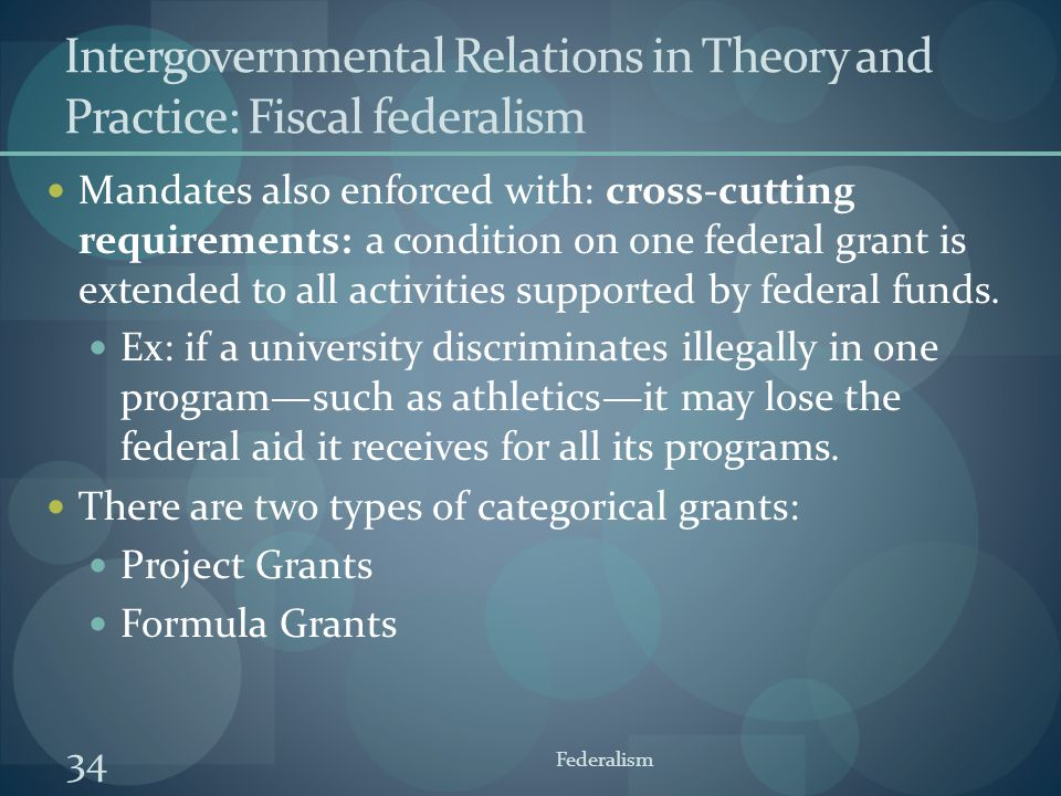 Intergovernmental Relations in Theory and Practice: Fiscal federalism