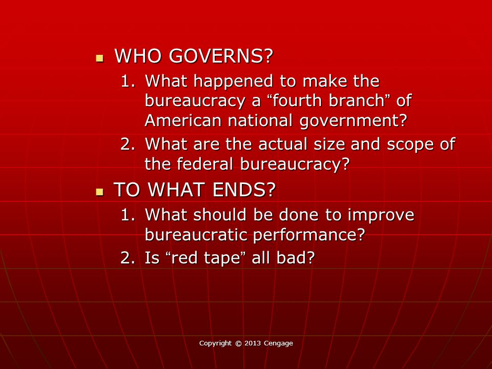 WHO GOVERNS TO WHAT ENDS
