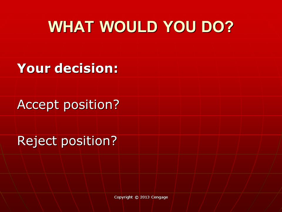 WHAT WOULD YOU DO Your decision: Accept position Reject position