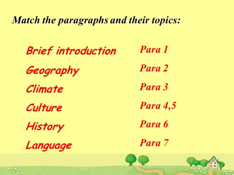 Match the paragraphs and their topics: