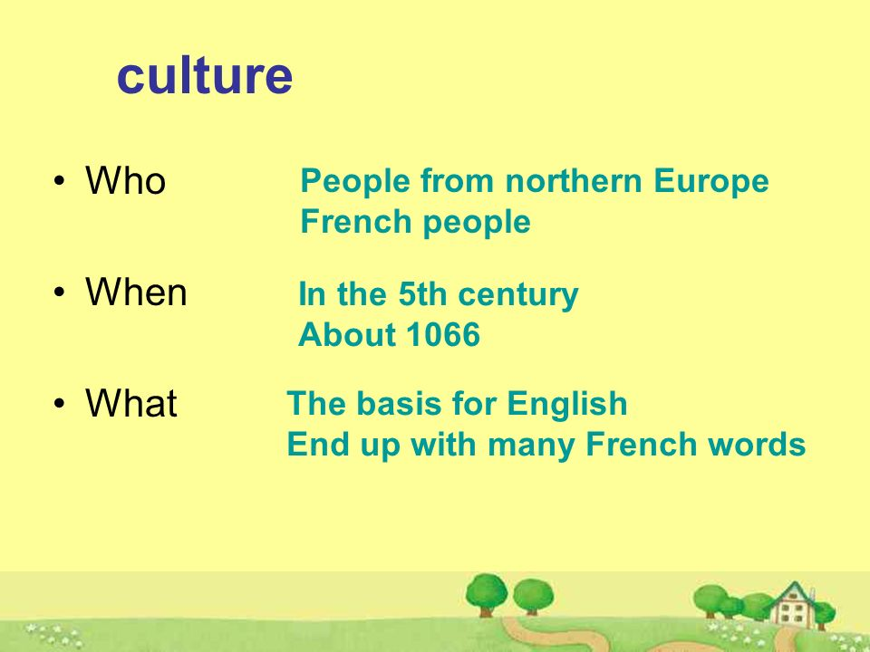 culture Who When What People from northern Europe French people