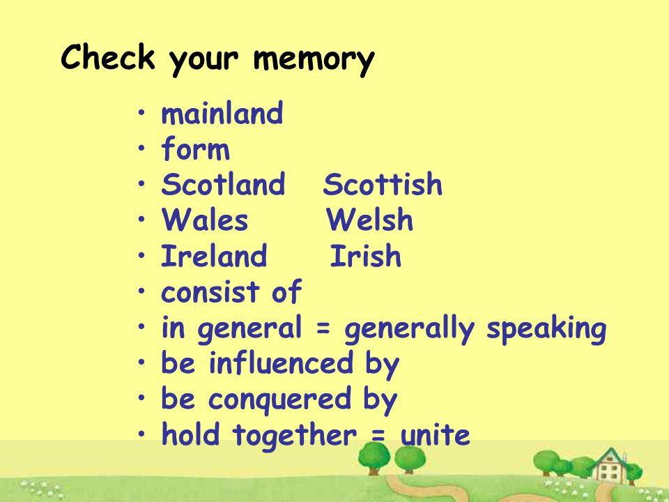 Check your memory mainland form Scotland Scottish Wales Welsh