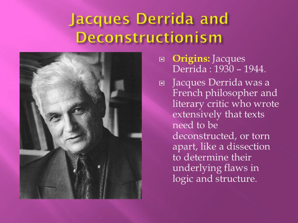 Jacques Derrida and Deconstructionism