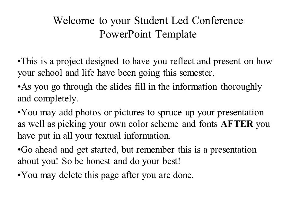 Welcome to your student led conference powerpoint template ppt welcome to your student led conference powerpoint template toneelgroepblik Choice Image