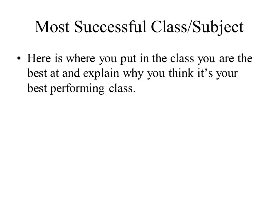 Most Successful Class/Subject