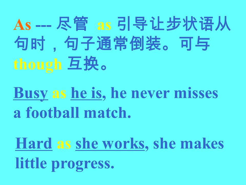 As --- 尽管 as 引导让步状语从句时,句子通常倒装。可与though 互换。