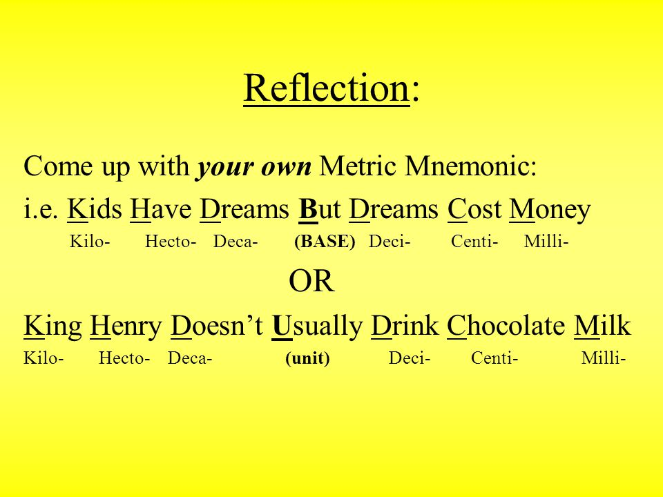 Reflection: Come up with your own Metric Mnemonic:
