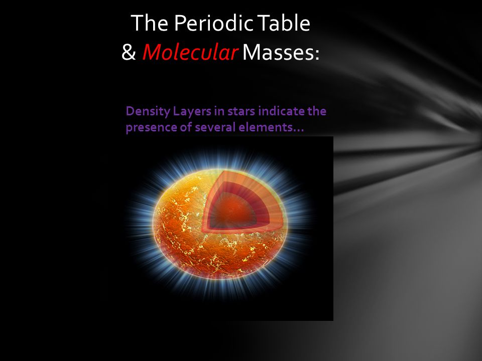 The Periodic Table & Molecular Masses:
