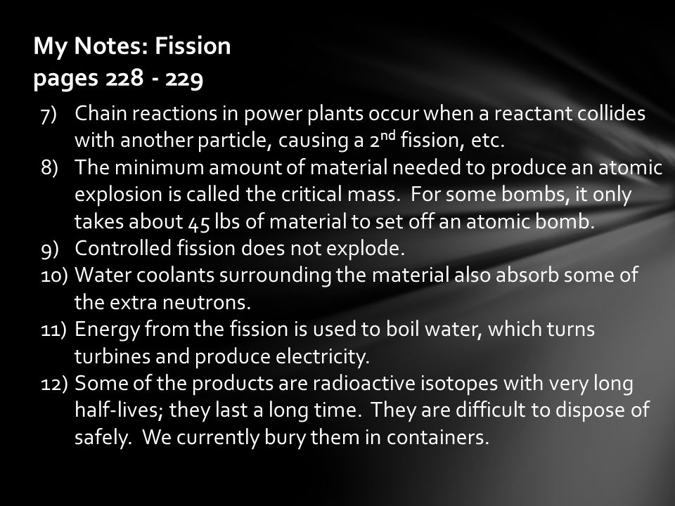 My Notes: Fission pages 228 - 229