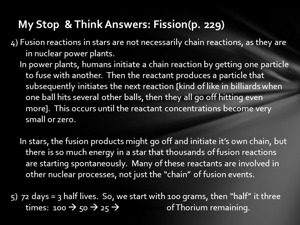My Stop & Think Answers: Fission(p. 229)