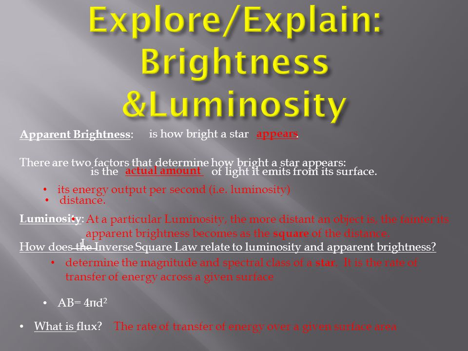 Explore/Explain: Brightness &Luminosity