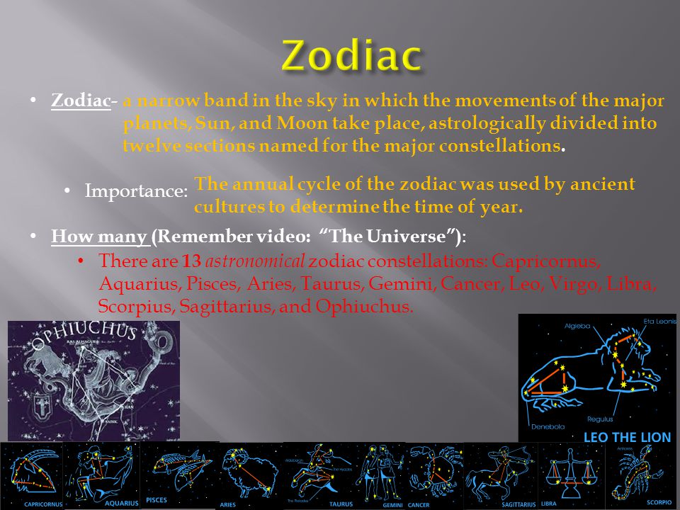 Zodiac Zodiac- Importance: How many (Remember video: The Universe ):