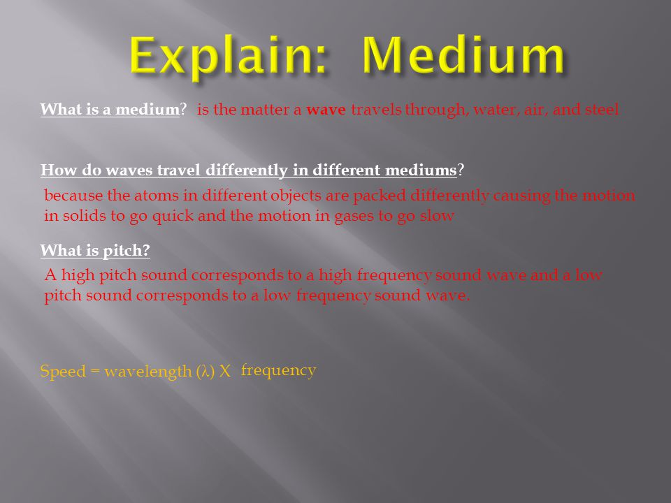 Explain: Medium What is a medium