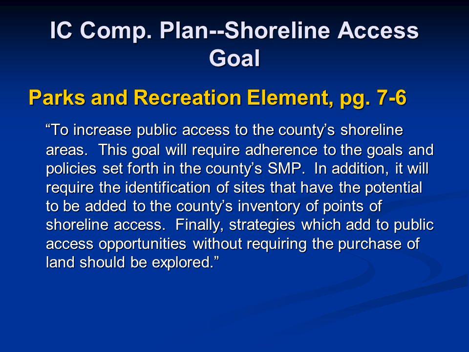 IC Comp. Plan--Shoreline Access Goal