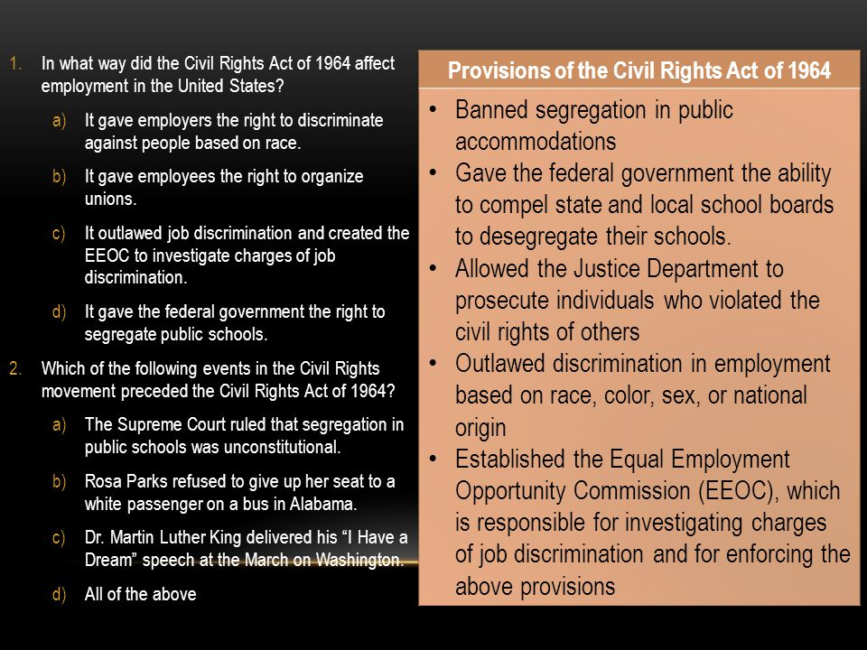 Provisions of the Civil Rights Act of 1964