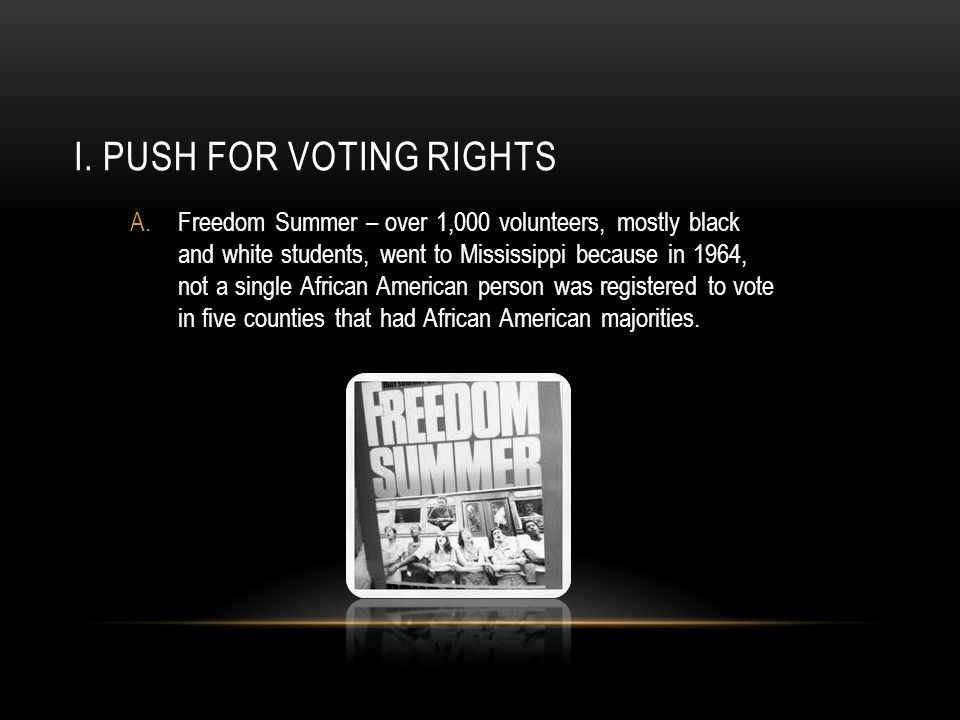I. Push for Voting Rights