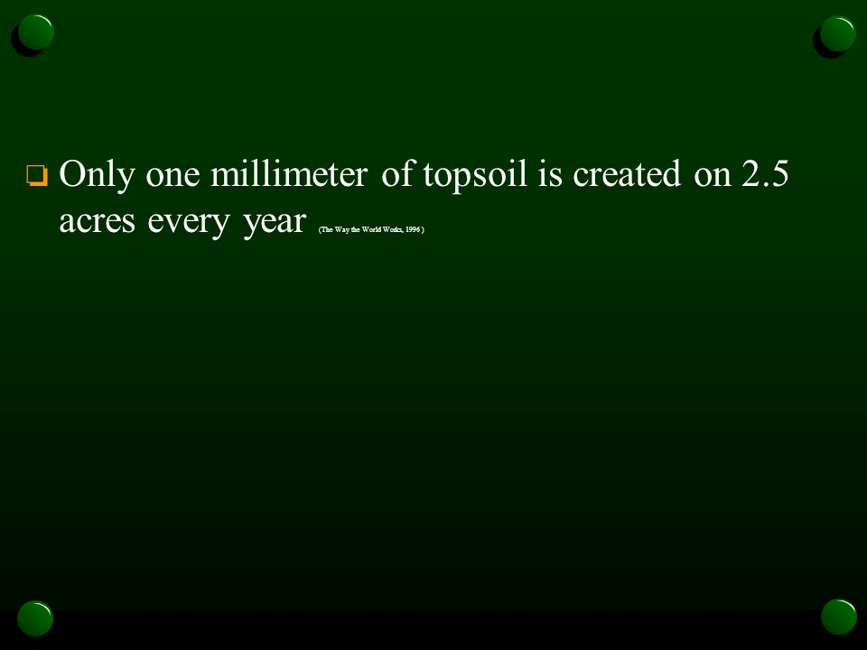 Only one millimeter of topsoil is created on 2