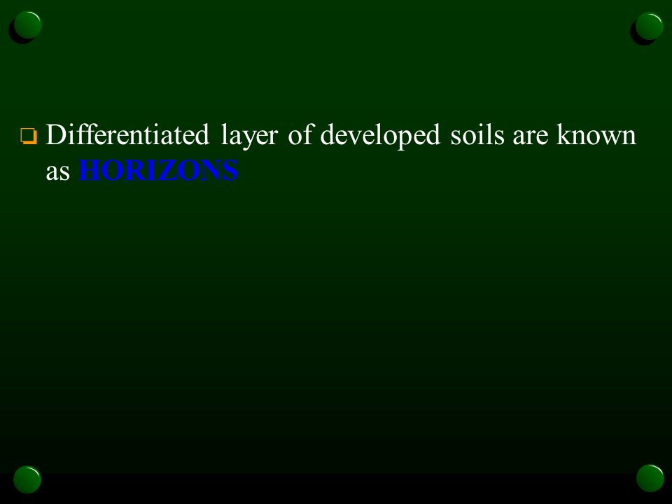 Differentiated layer of developed soils are known as HORIZONS