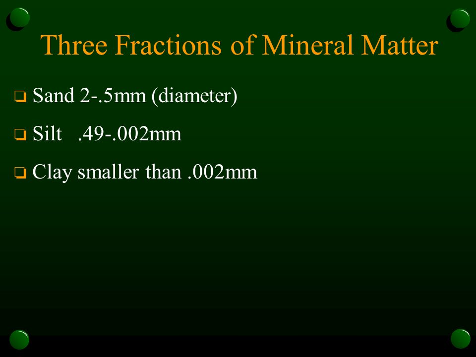 Three Fractions of Mineral Matter