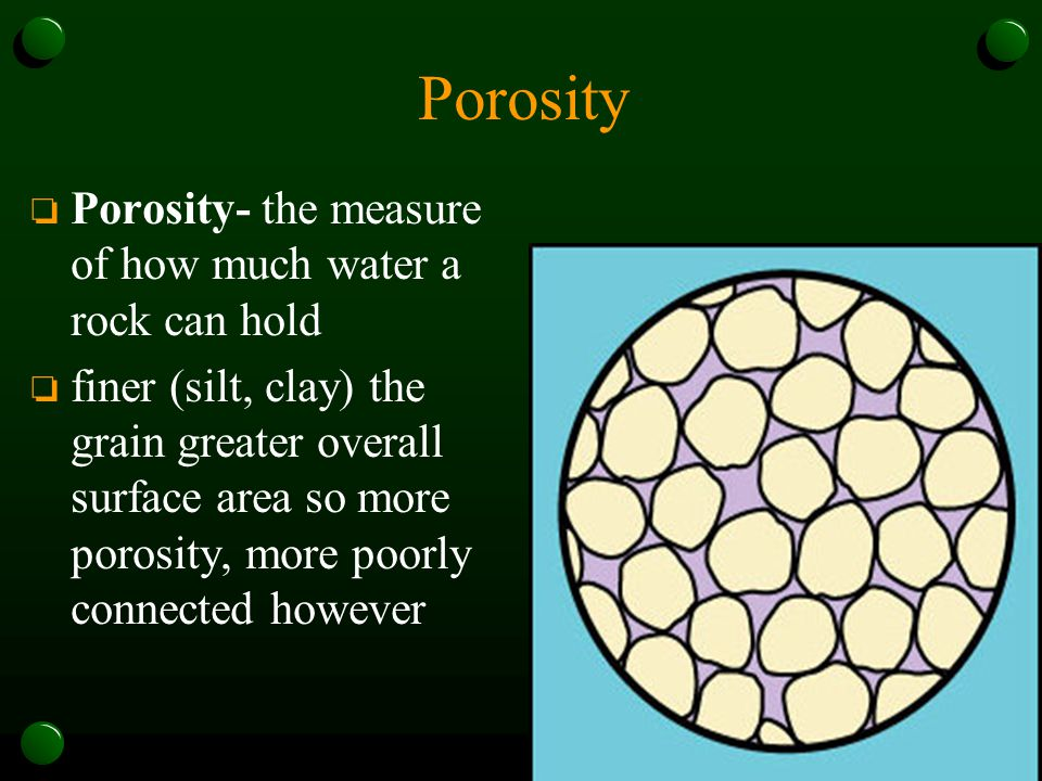Porosity Porosity- the measure of how much water a rock can hold