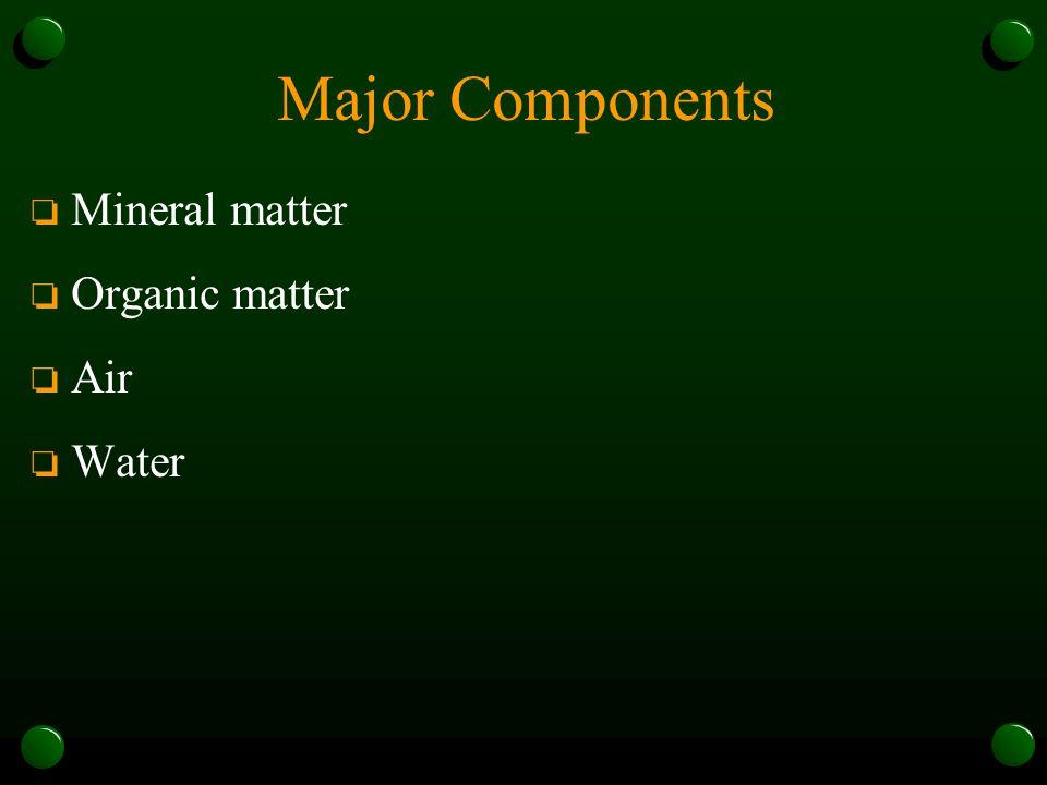 Major Components Mineral matter Organic matter Air Water