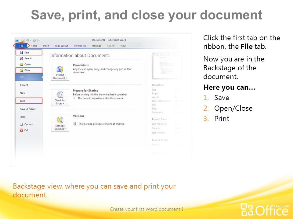 Save, print, and close your document