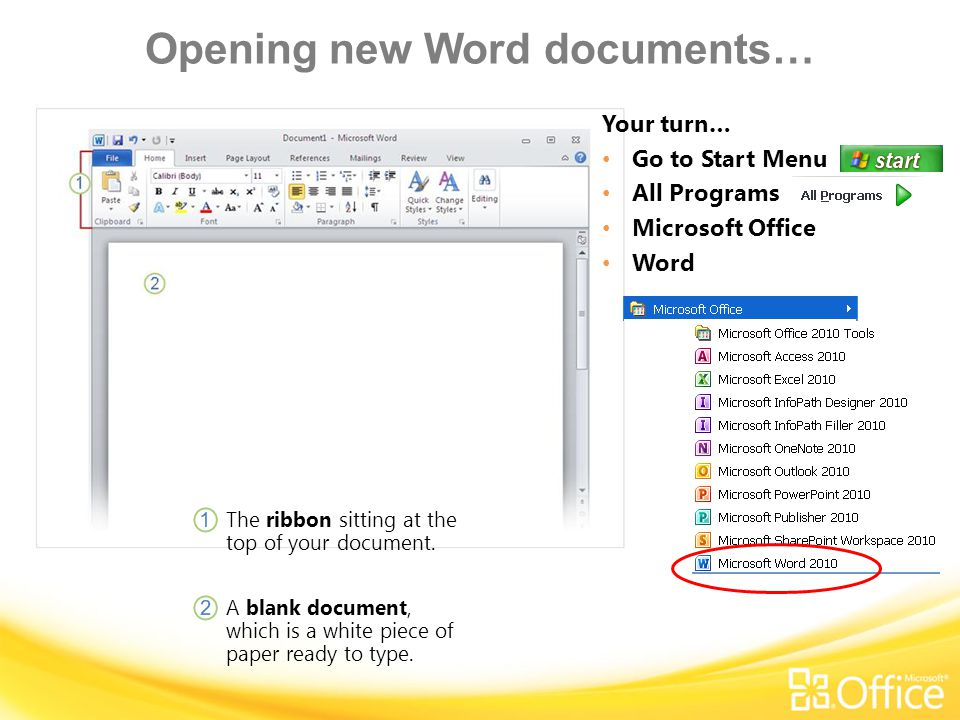 Opening new Word documents…