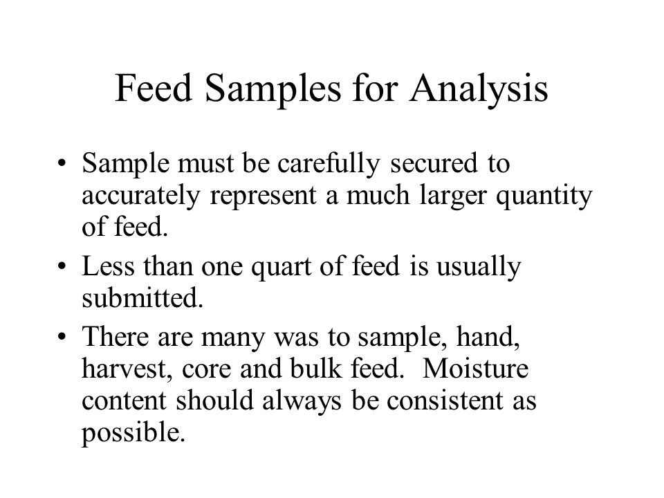 Feed Samples for Analysis