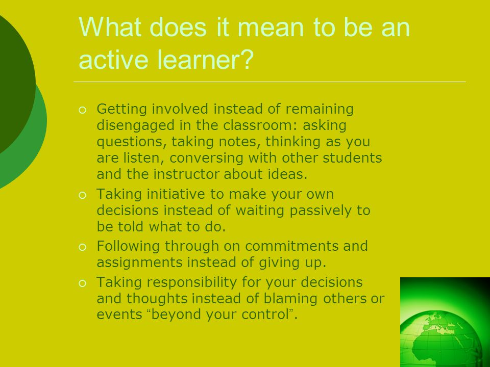 What does it mean to be an active learner