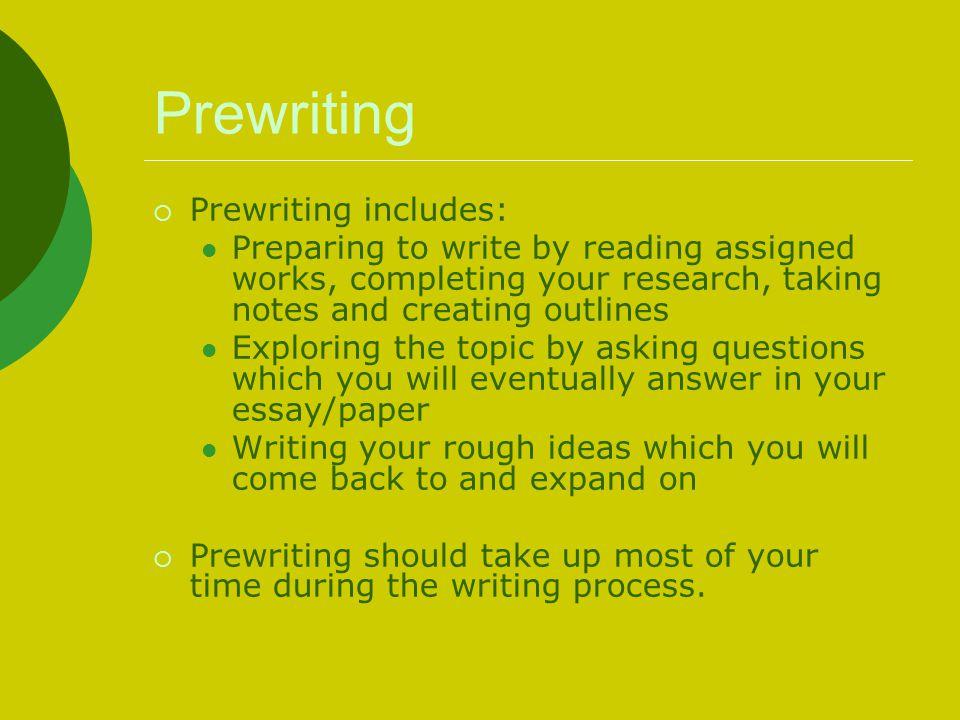 Prewriting Prewriting includes: