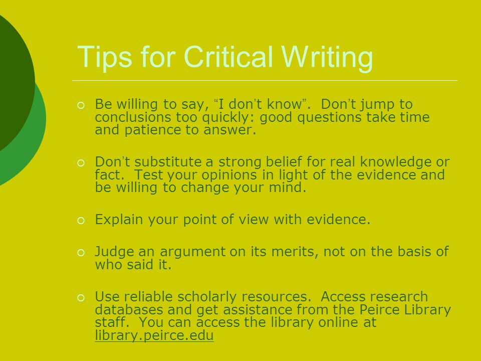 Tips for Critical Writing