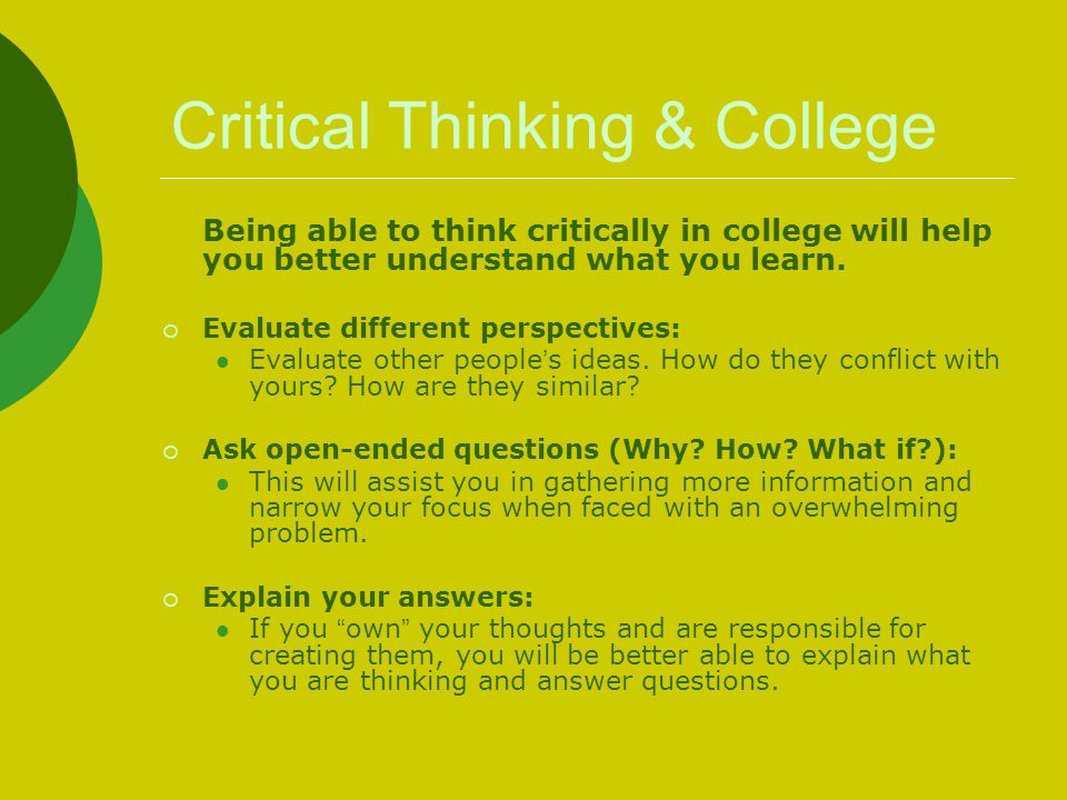 Critical Thinking & College
