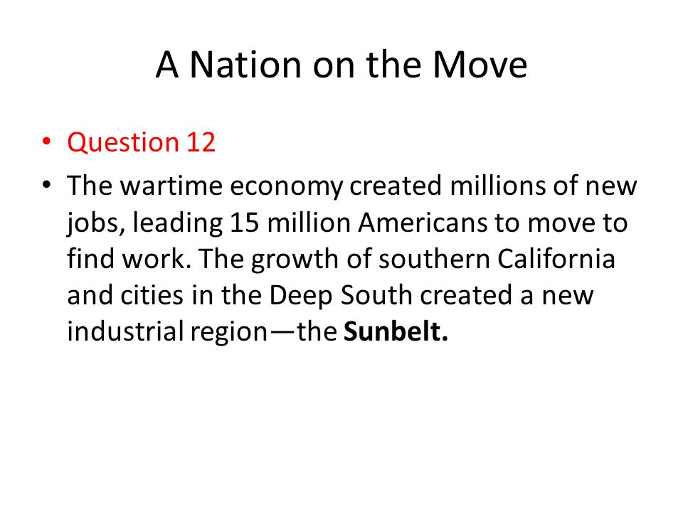 A Nation on the Move Question 12