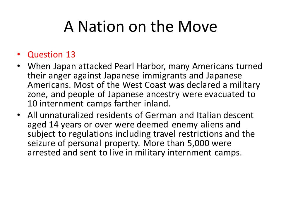 A Nation on the Move Question 13