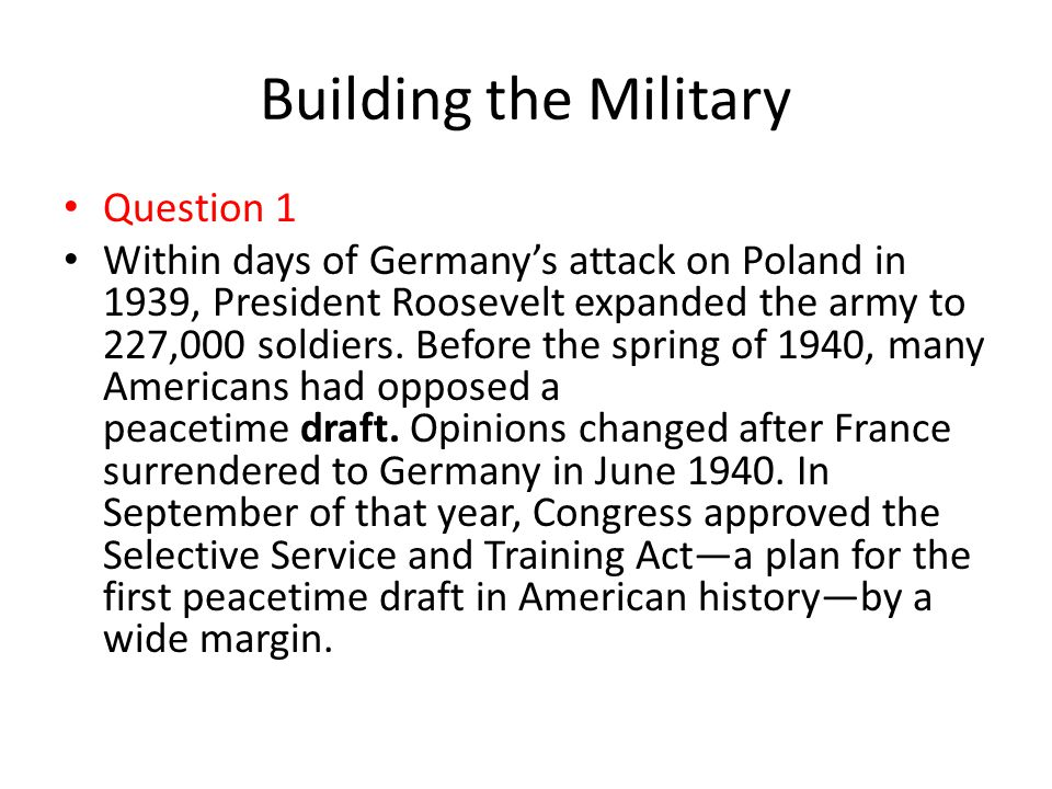 Building the Military Question 1