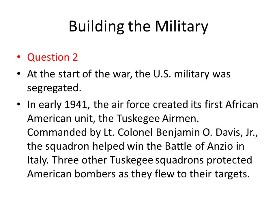 Building the Military Question 2