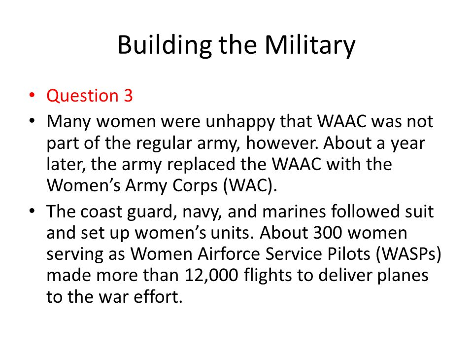 Building the Military Question 3