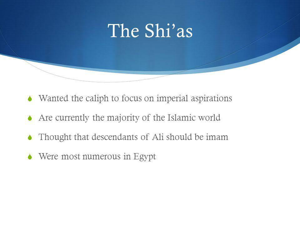 The Shi'as Wanted the caliph to focus on imperial aspirations