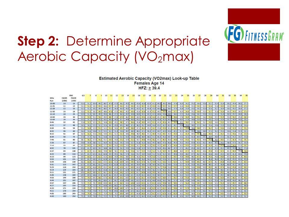 Step 2: Determine Appropriate Aerobic Capacity (VO2max)