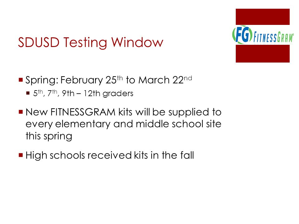 SDUSD Testing Window Spring: February 25th to March 22nd