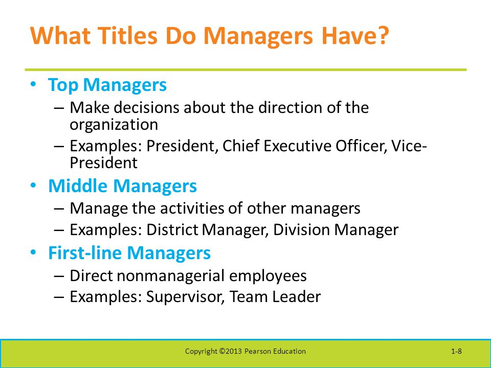 What Titles Do Managers Have