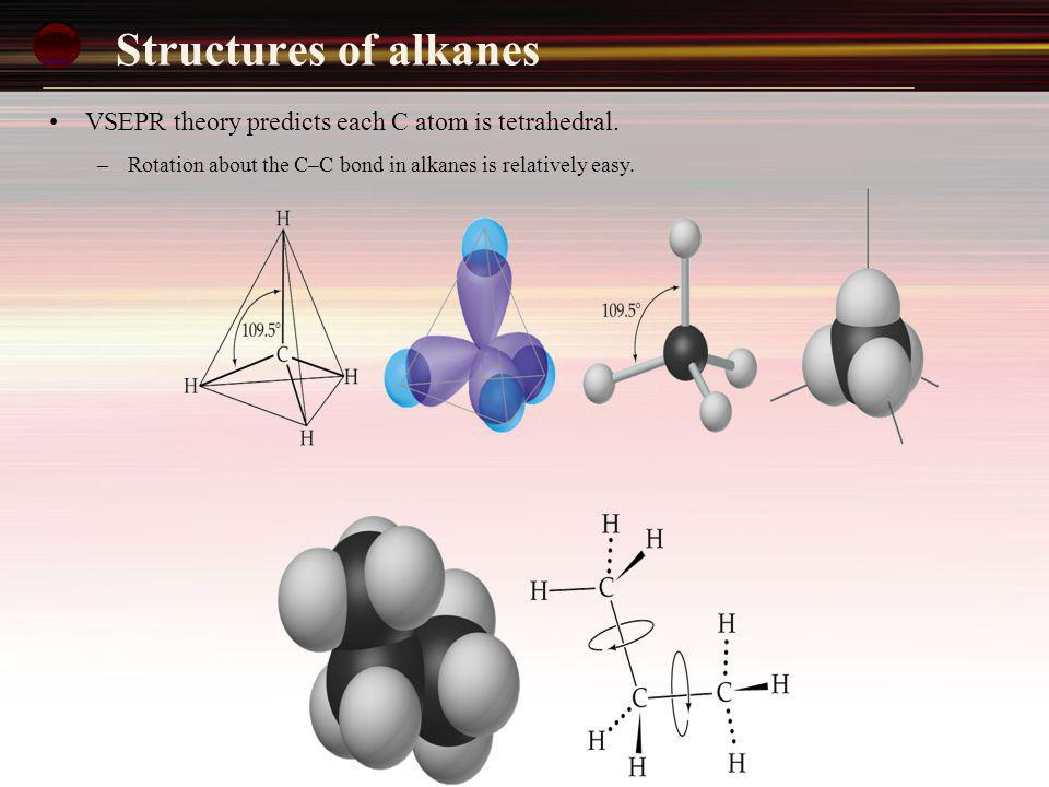 Structures of alkanes VSEPR theory predicts each C atom is tetrahedral.