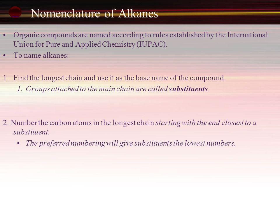 Nomenclature of Alkanes